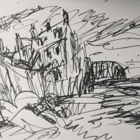 Robin Hoods Bay, Marker on Paper
